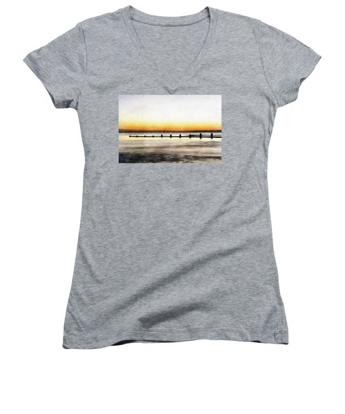 Women's V-Neck featuring the painting Chesapeake by Harry Warrick