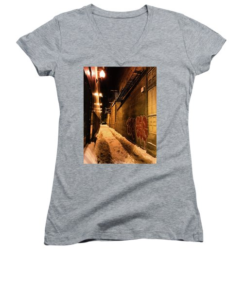 Chicago Alleyway At Night Women's V-Neck