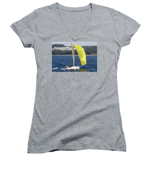 Chicago To Mackinac Yacht Race Sailboat With Grand Hotel Women's V-Neck
