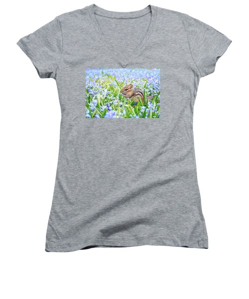 Chipmunk On Flowers Women's V-Neck