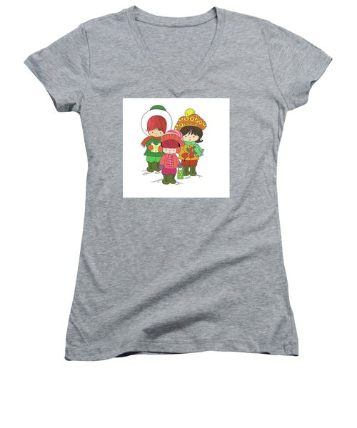 Christmas Angels Women's V-Neck