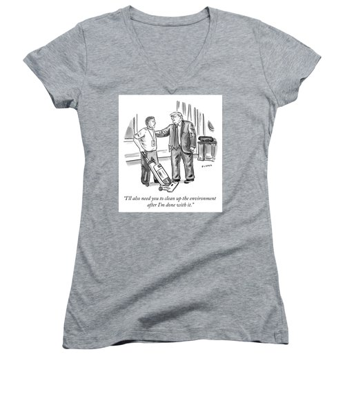 Clean Up The Environment Women's V-Neck