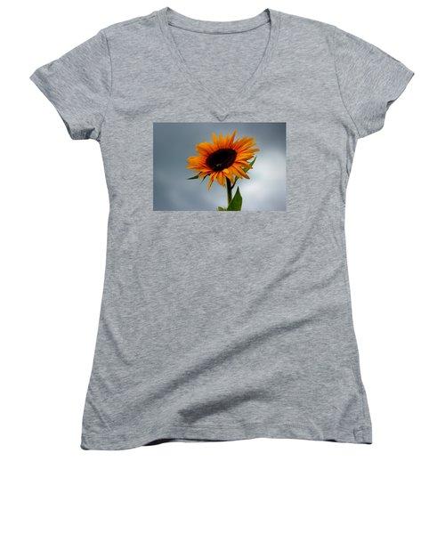 Cloudy Sunflower Women's V-Neck