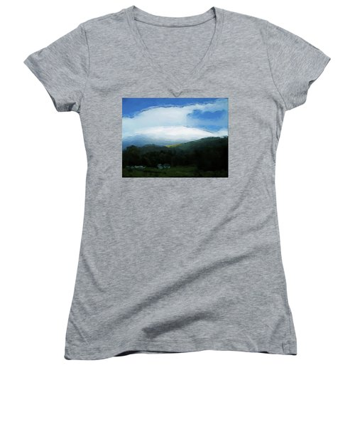 Cloudy View Painting Women's V-Neck