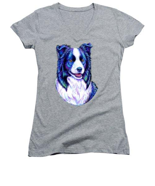 Colorful Border Collie Dog Women's V-Neck