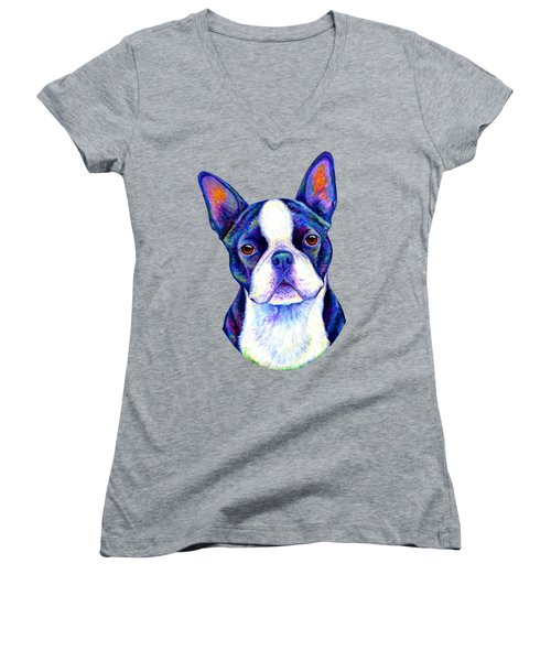 Colorful Boston Terrier Dog Women's V-Neck