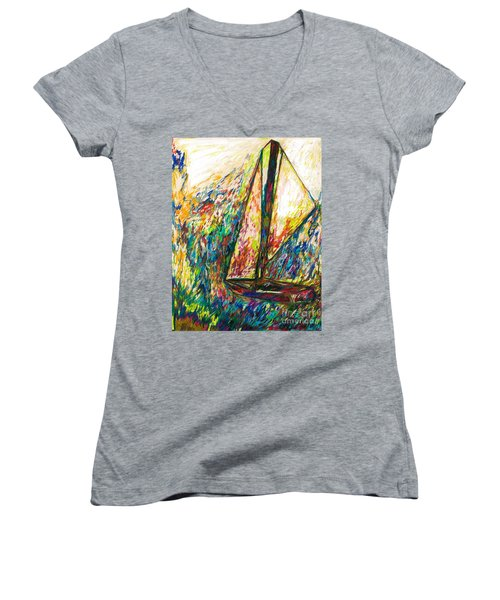 Colorful Day On The Water Women's V-Neck