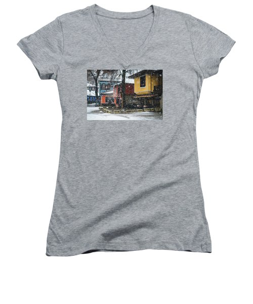Colorful Koprivshtica Houses In Winter Women's V-Neck