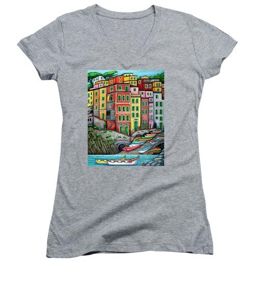 Colours Of Riomaggiore Cinque Terre Women's V-Neck