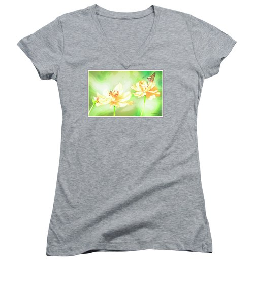 Cosmos Flowers, Bud, Butterfly, Digital Painting Women's V-Neck