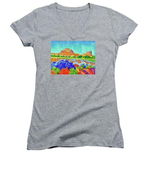 Women's V-Neck featuring the painting Courthouse And Jail Watercolor by Dan Miller