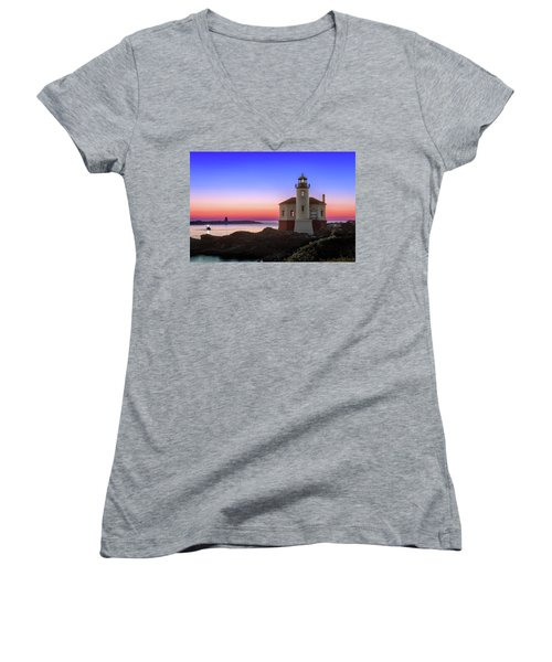 Crab Boat At The Bandon Lighthouse Women's V-Neck