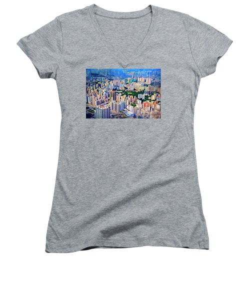 Crowded Hong Kong Abstract Women's V-Neck