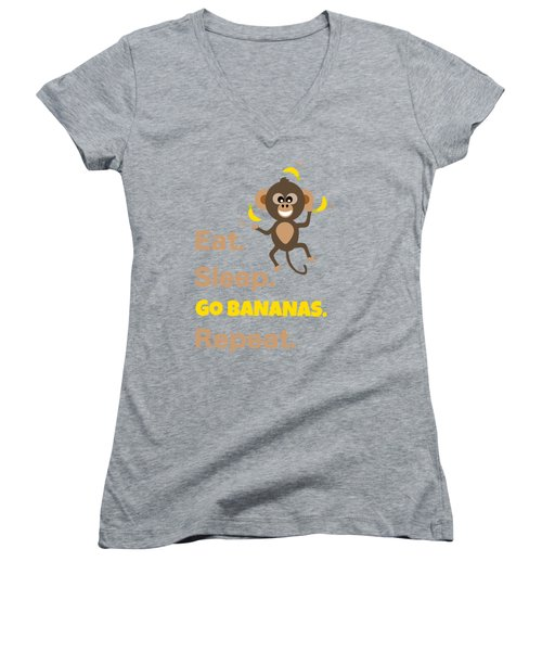 Cute Animal Money Juggling With Text Eat Sleep Go Bananas Popular Quote Women's V-Neck