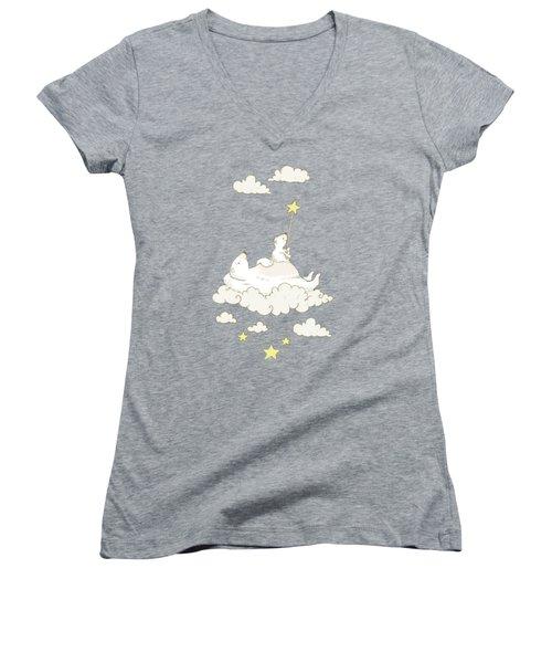 Cute Polar Bears On Cloud Whimsical Art For Kids Women's V-Neck