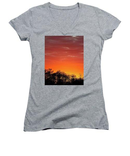 Cypress Swamp Sunset 4 Women's V-Neck