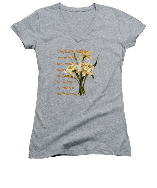 Daffodils That Come Shakespearian Quote Women's V-Neck