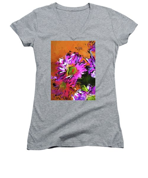 Daisy Rhapsody In Lavender And Pink Women's V-Neck (Athletic Fit)
