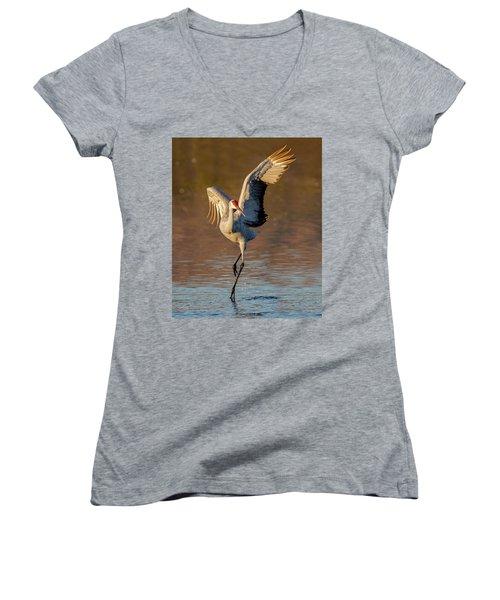 Dance Of The Sandhill Crane Women's V-Neck