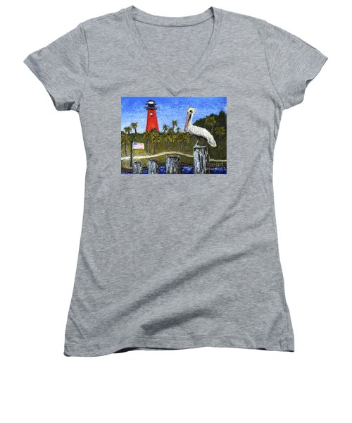 Aceo Dawn At Jupiter Inlet Lighthouse Florida 52a Women's V-Neck