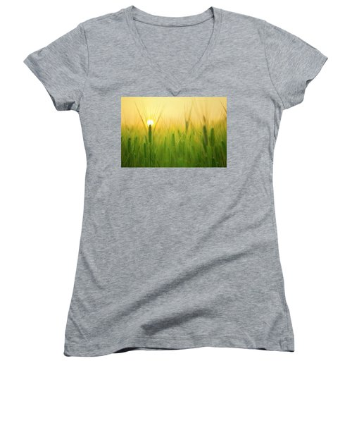 Dawn At The Wheat Field Women's V-Neck