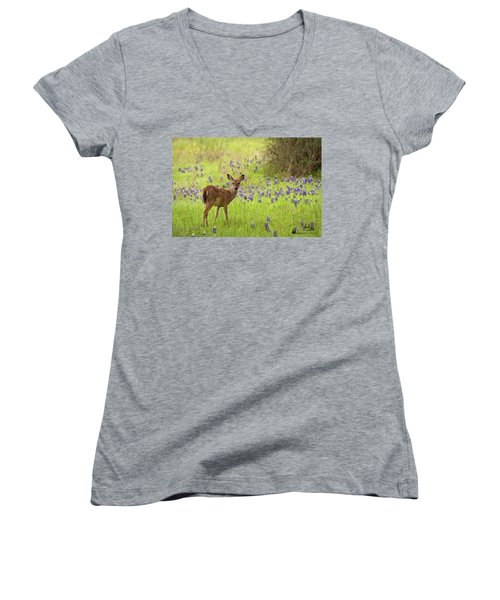 Deer In The Bluebonnets Women's V-Neck