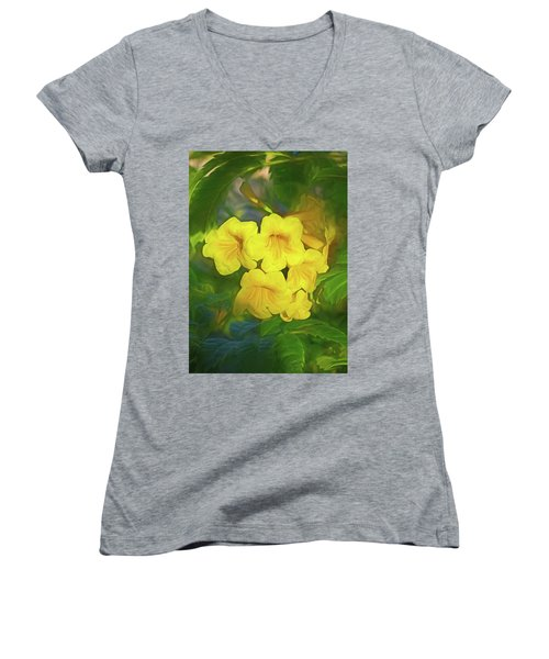 Women's V-Neck featuring the mixed media Desert Gold 8  by Lynda Lehmann