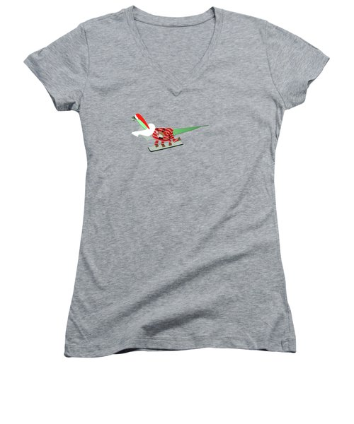 Dinosaur Snowboarding In Ugly Christmas Jumper Women's V-Neck