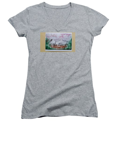 Distant Impressionistic Mountains Women's V-Neck