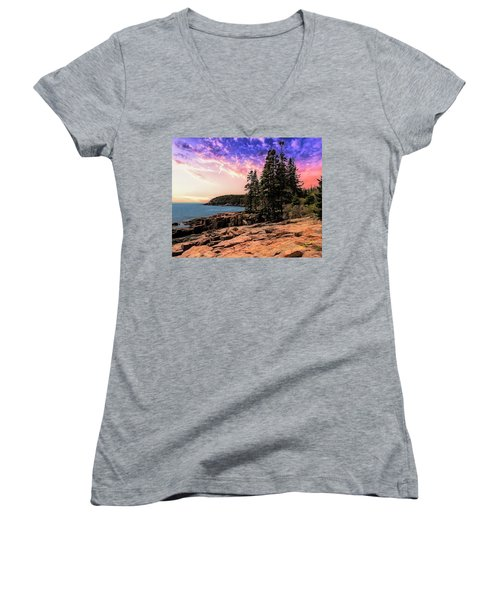 Distant View Of Otter Cliffs,acadia National Park,maine. Women's V-Neck
