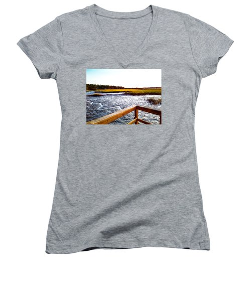 Women's V-Neck featuring the photograph Dock Point by Robert Knight