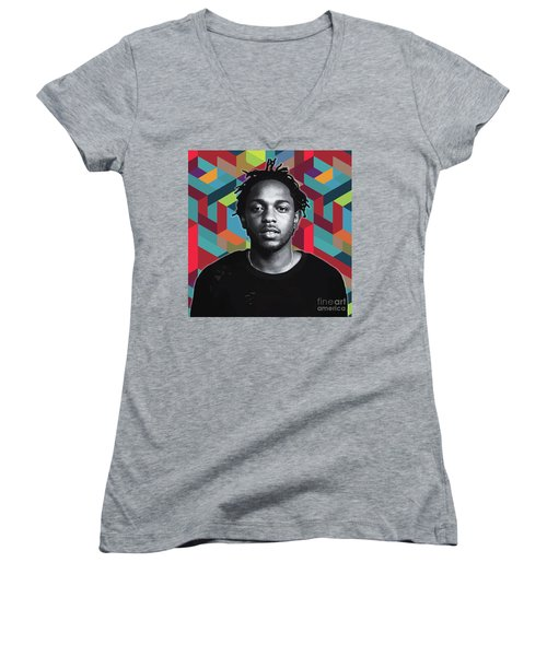 Women's V-Neck featuring the painting Don't Kill My Vibe Kendrick by Carla B