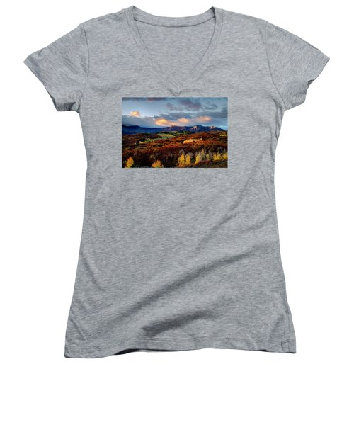 Dramatic Sunrise In The San Juan Mountains Of Colorado Women's V-Neck