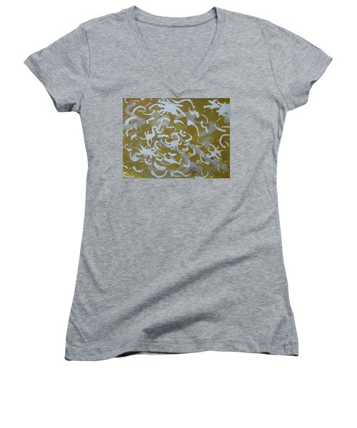 Dull Yellow With Masking Fluid Women's V-Neck