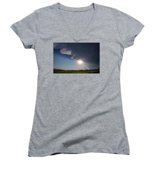 Dying Nebraska Thunderstorms At Sunset 002 Women's V-Neck