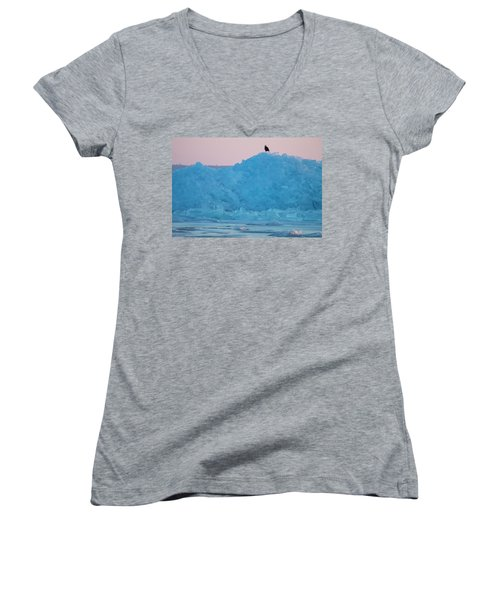 Eagle On Ice Mackinaw City 2261803 Women's V-Neck