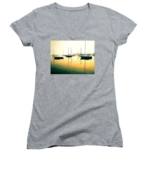 Early Mornings At The Harbour Women's V-Neck