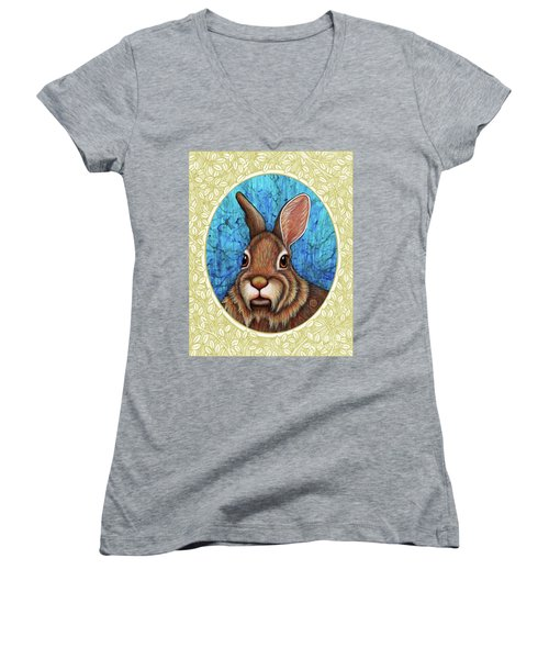 Eastern Cottontail Portrait - Cream Border Women's V-Neck