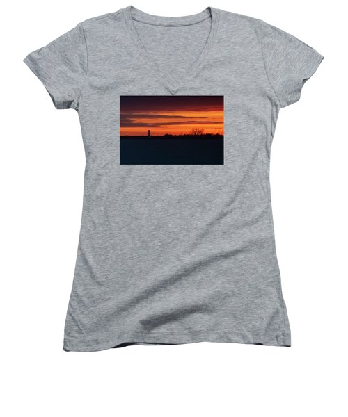 Egmont Key Lighthouse Sunset Women's V-Neck