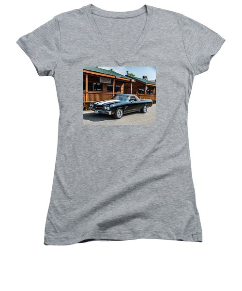 Women's V-Neck featuring the photograph El Camino by Michael Sussman
