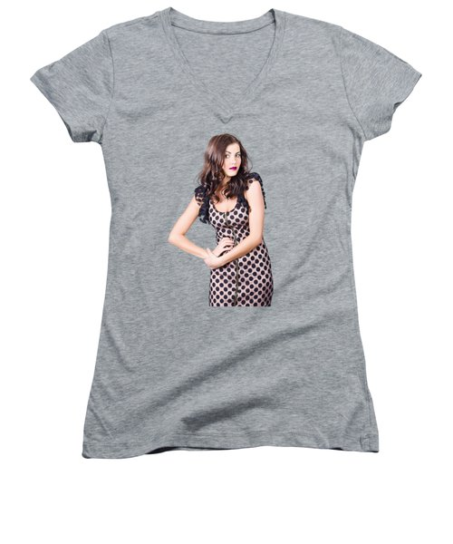 Elegant High Fashion Model In Autumn Clothes Women's V-Neck (Athletic Fit)