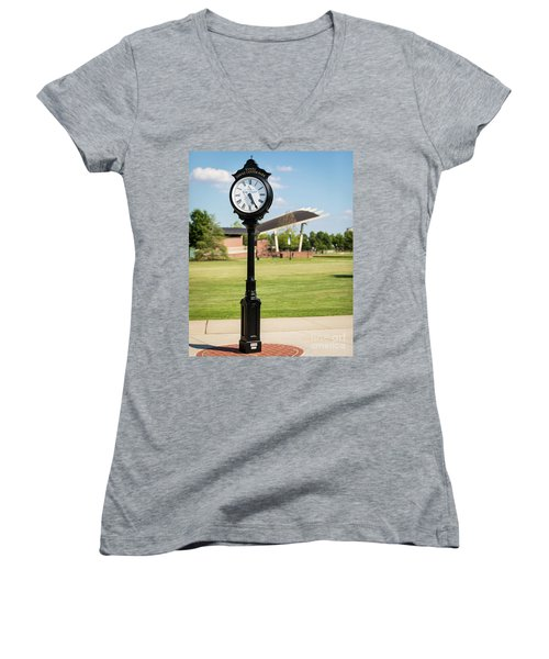 Evans Towne Center Park Clock - Columbia County Ga Women's V-Neck