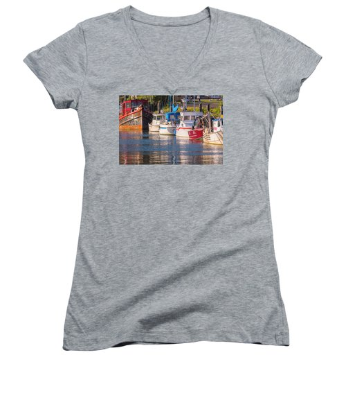 Evening At The Harbor Women's V-Neck
