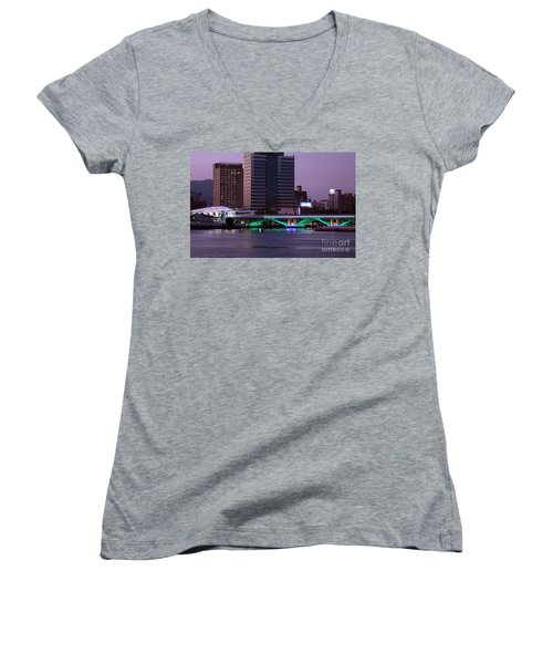 Evening View Of The Love River And Illuminated Bridge Women's V-Neck