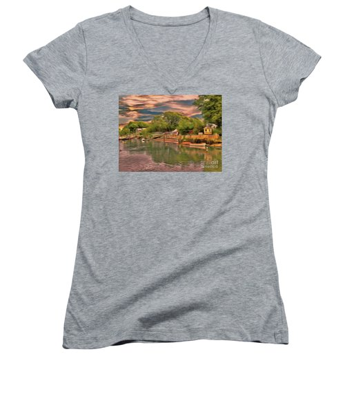Women's V-Neck featuring the photograph Everything That I Love About The River by Leigh Kemp