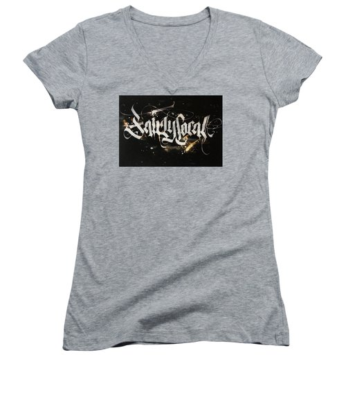 Fairly Local. Calligraphic Abstract Women's V-Neck (Athletic Fit)