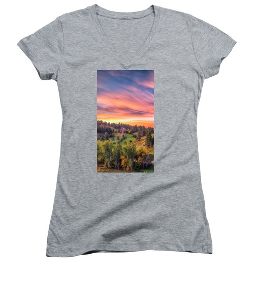 Women's V-Neck featuring the photograph Fairytale Triptych 1 by Fiskr Larsen