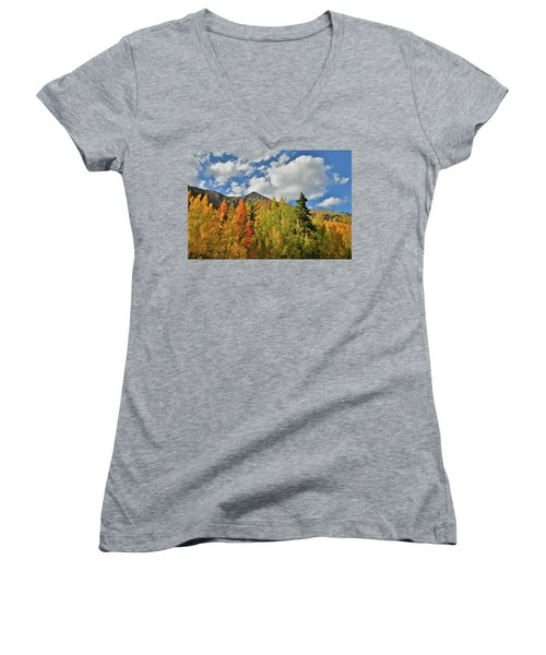Fall Colored Aspens Bask In Sun At Red Mountain Pass Women's V-Neck
