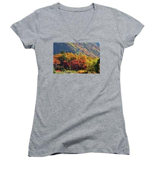 Fall Colors Along Avalanche Creek Road Women's V-Neck