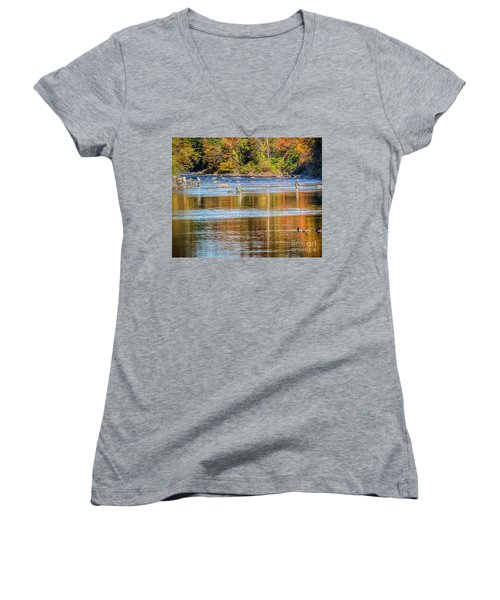 Fall Fishing Reflections Women's V-Neck